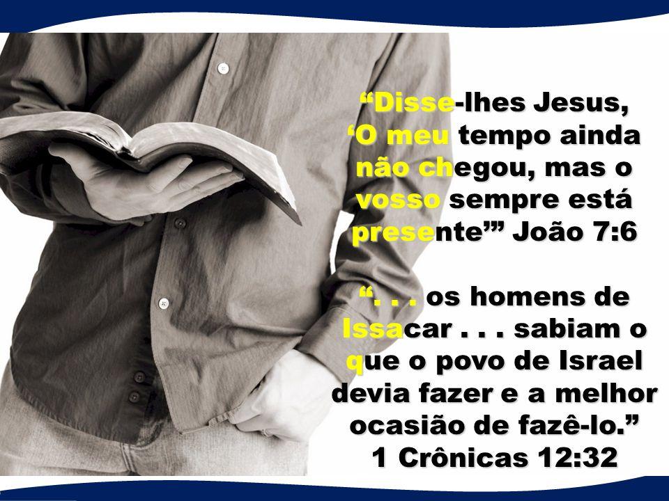 Disse-lhes Jesus, 'O meu tempo ainda não chegou, mas o vosso sempre está presente' João 7:6 .