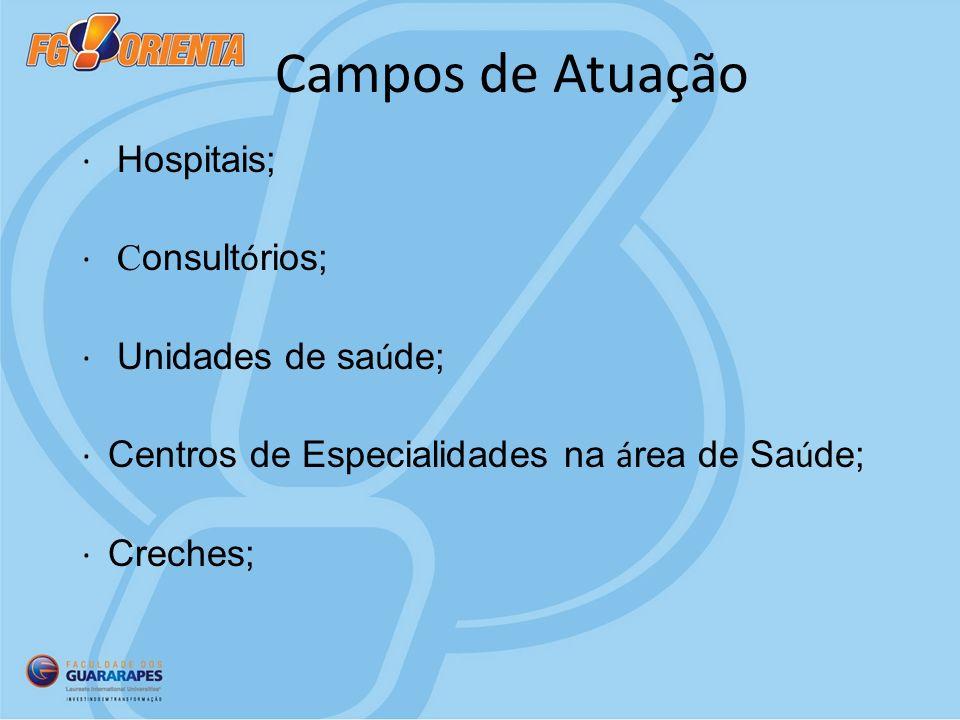 Campos de Atuação · Hospitais; · Consultórios; · Unidades de saúde;