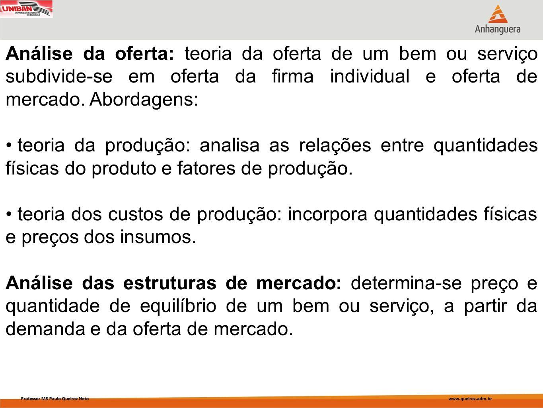 Análise da oferta: teoria da oferta de um bem ou serviço subdivide-se em oferta da firma individual e oferta de mercado. Abordagens: