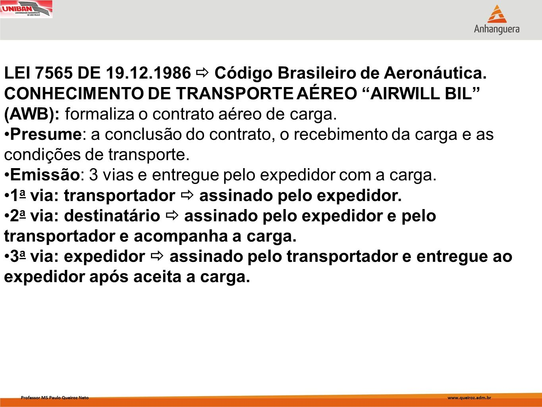 LEI 7565 DE 19.12.1986  Código Brasileiro de Aeronáutica.