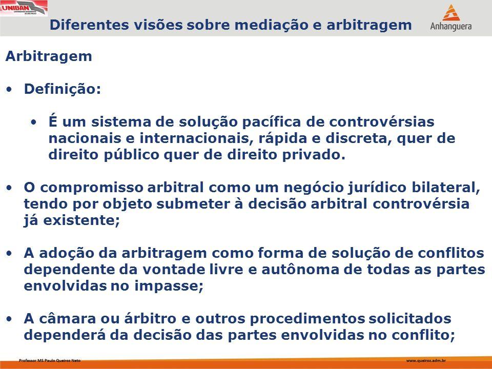 Diferentes visões sobre mediação e arbitragem