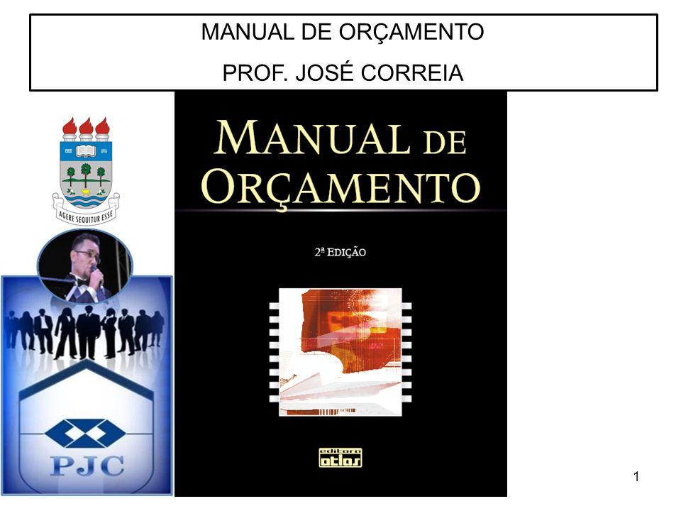 MANUAL DE ORÇAMENTO PROF. JOSÉ CORREIA