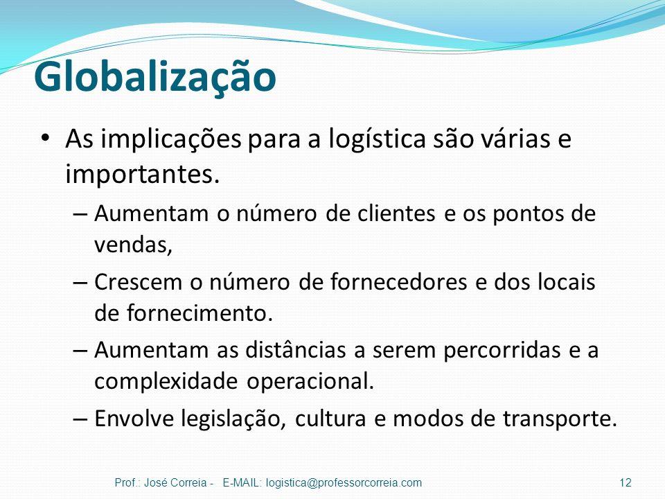 Globalização As implicações para a logística são várias e importantes.