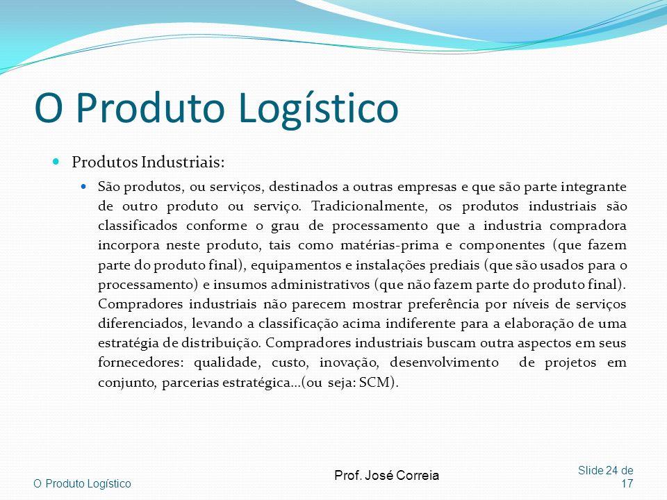 O Produto Logístico Produtos Industriais: