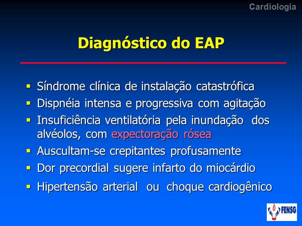 Diagnóstico do EAP Síndrome clínica de instalação catastrófica