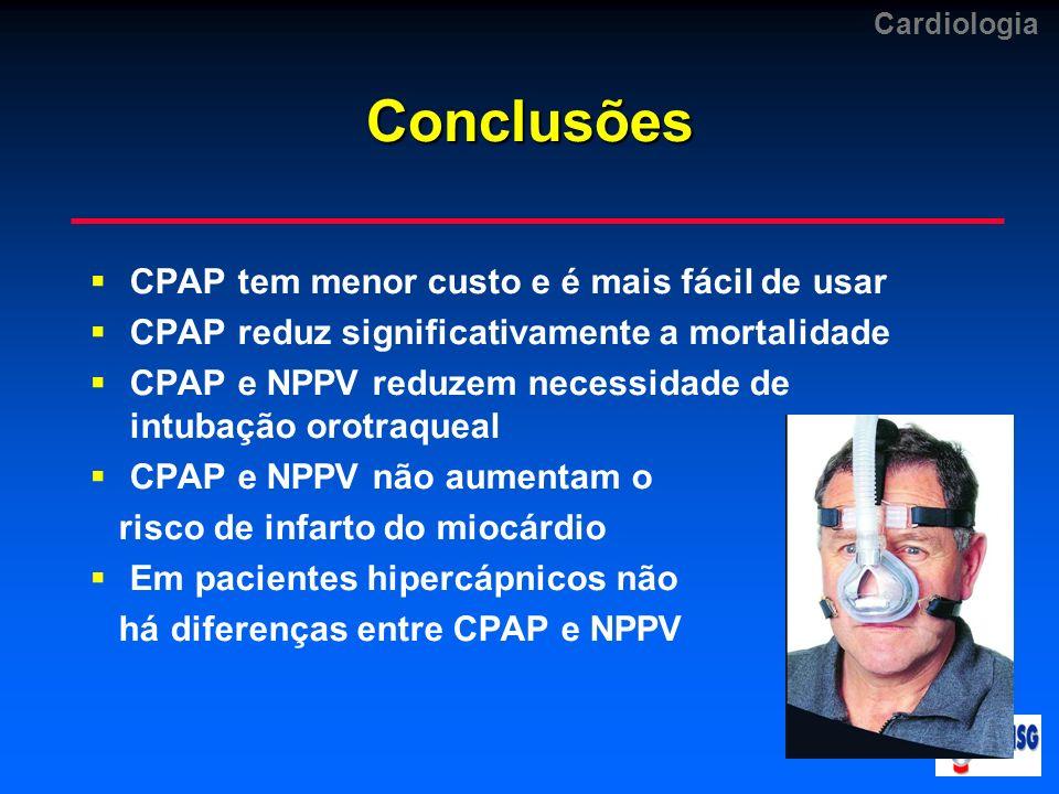 Conclusões CPAP tem menor custo e é mais fácil de usar