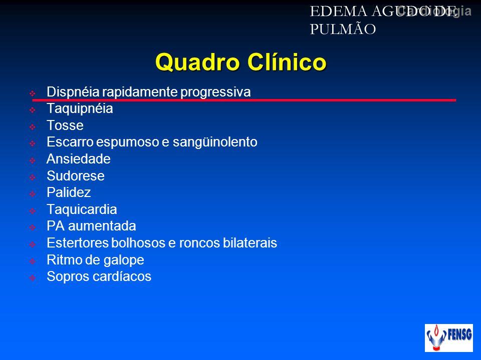 Quadro Clínico EDEMA AGUDO DE PULMÃO Dispnéia rapidamente progressiva