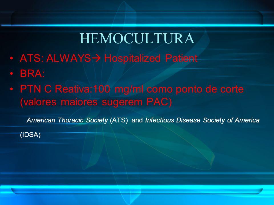 HEMOCULTURA ATS: ALWAYS Hospitalized Patient. BRA: PTN C Reativa:100 mg/ml como ponto de corte (valores maiores sugerem PAC)