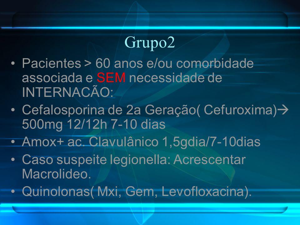 Grupo2 Pacientes > 60 anos e/ou comorbidade associada e SEM necessidade de INTERNACÃO: