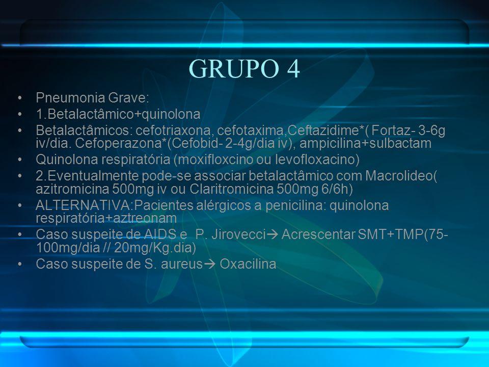 GRUPO 4 Pneumonia Grave: 1.Betalactâmico+quinolona