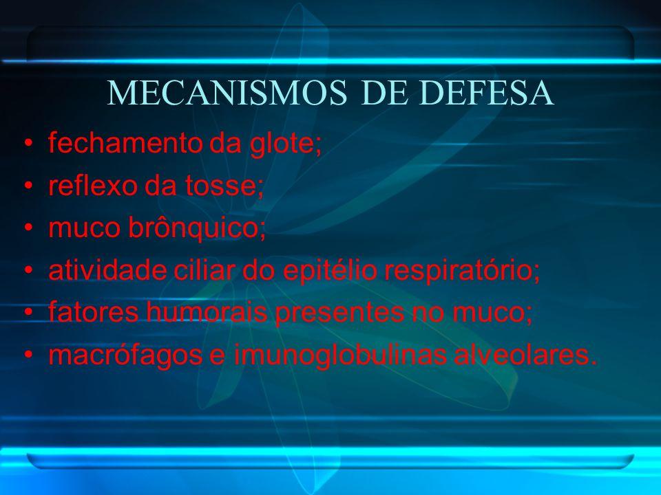 MECANISMOS DE DEFESA fechamento da glote; reflexo da tosse;