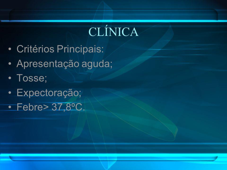 CLÍNICA Critérios Principais: Apresentação aguda; Tosse; Expectoração;