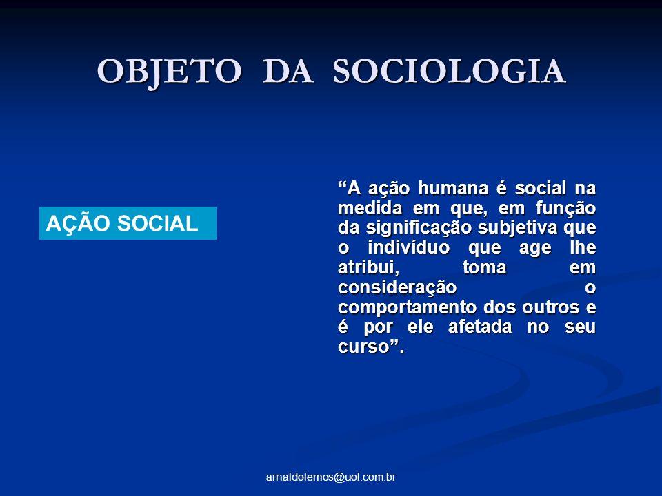 OBJETO DA SOCIOLOGIA AÇÃO SOCIAL