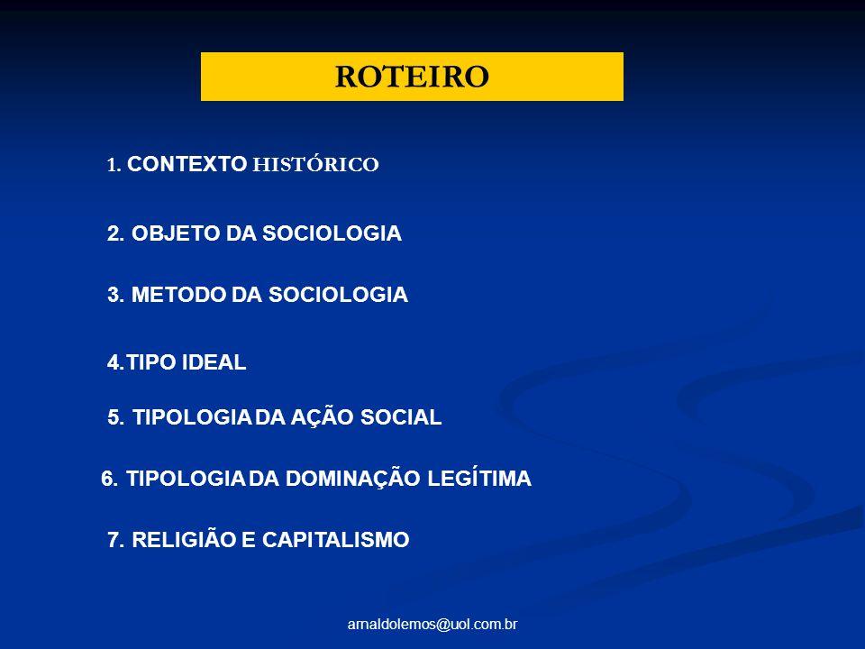 ROTEIRO 1. CONTEXTO HISTÓRICO 2. OBJETO DA SOCIOLOGIA