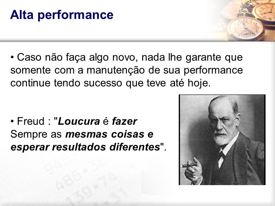 Alta performance Caso não faça algo novo, nada lhe garante que somente com a manutenção de sua performance continue tendo sucesso que teve até hoje.