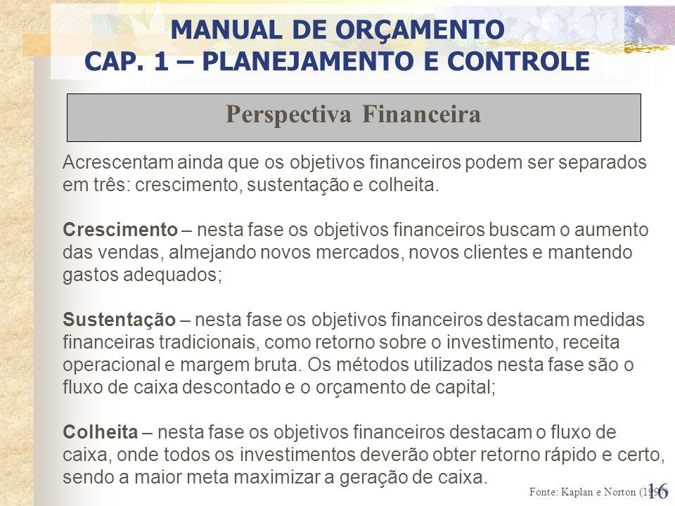 CAP. 1 – PLANEJAMENTO E CONTROLE Perspectiva Financeira
