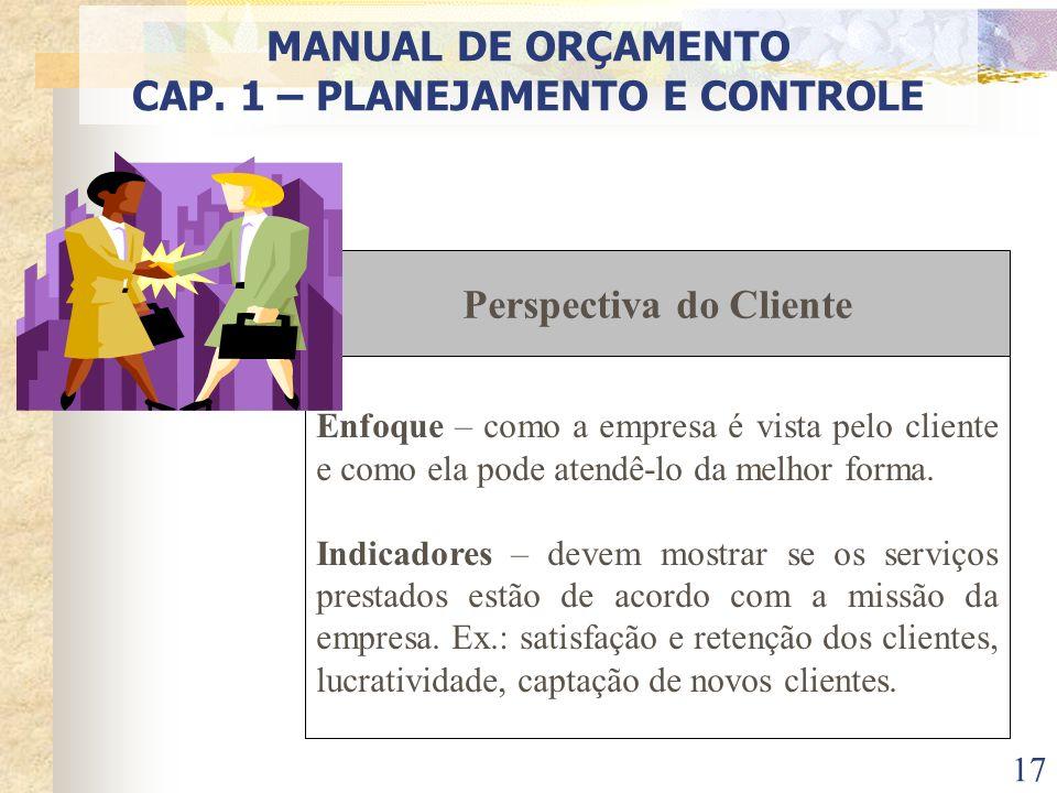 CAP. 1 – PLANEJAMENTO E CONTROLE Perspectiva do Cliente
