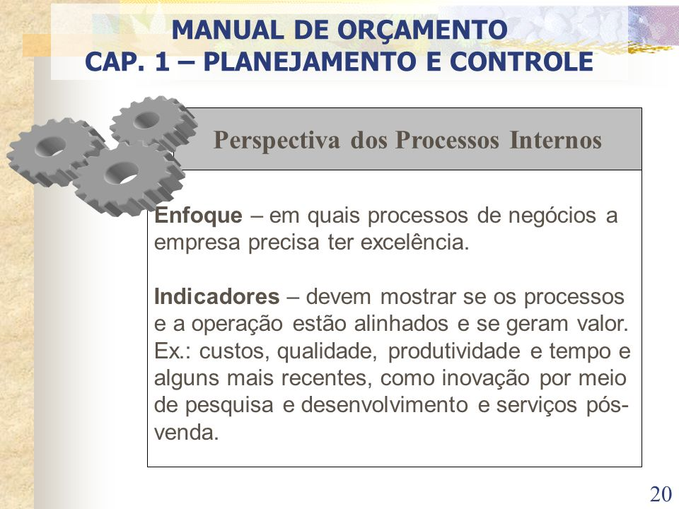 CAP. 1 – PLANEJAMENTO E CONTROLE Perspectiva dos Processos Internos