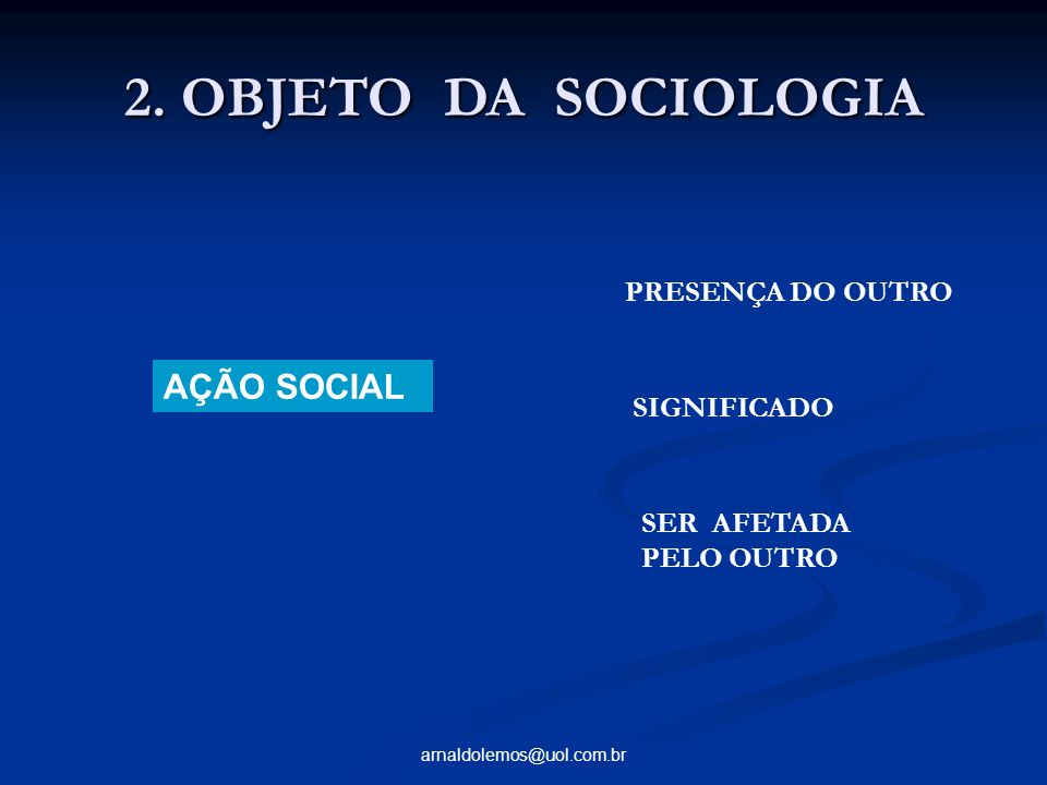 2. OBJETO DA SOCIOLOGIA AÇÃO SOCIAL PRESENÇA DO OUTRO SIGNIFICADO