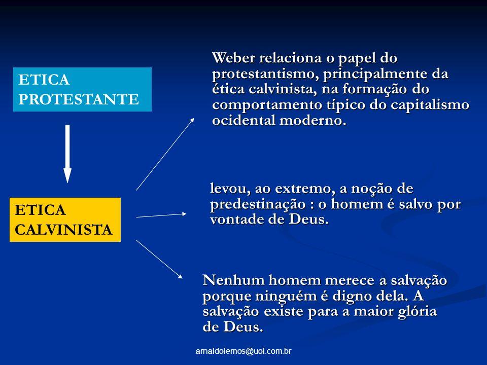 Weber relaciona o papel do protestantismo, principalmente da ética calvinista, na formação do comportamento típico do capitalismo ocidental moderno.