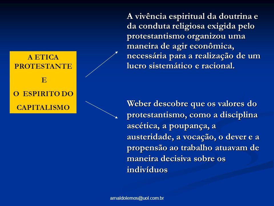 A vivência espiritual da doutrina e da conduta religiosa exigida pelo protestantismo organizou uma maneira de agir econômica, necessária para a realização de um lucro sistemático e racional.