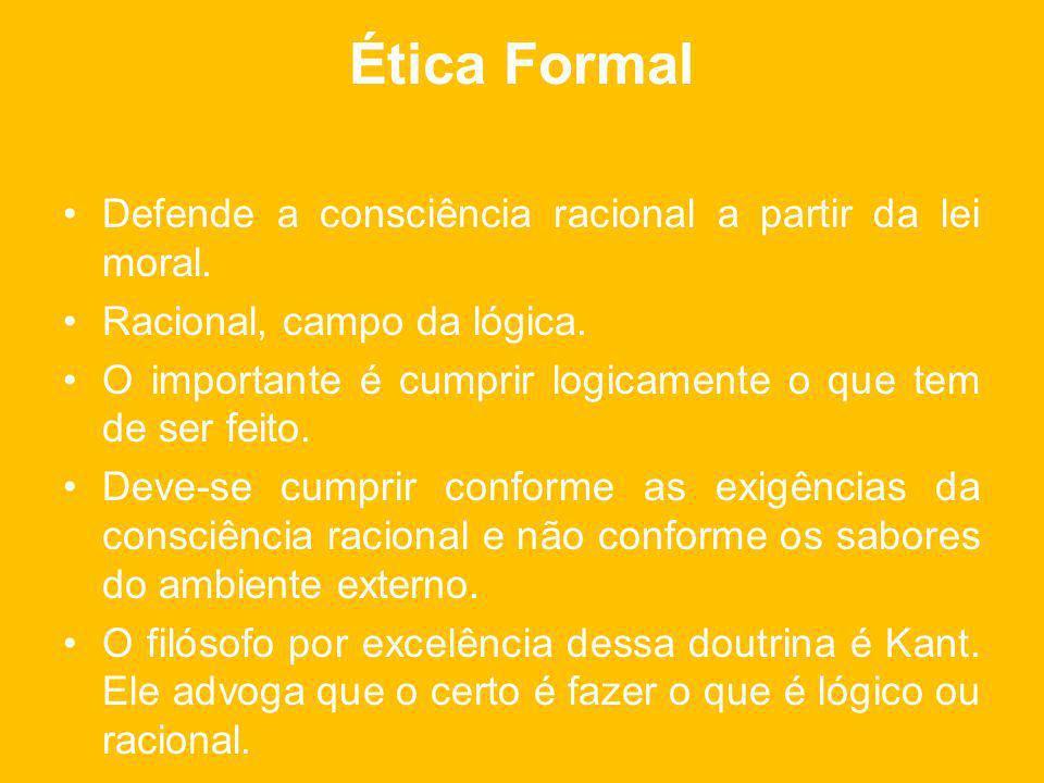 Ética Formal Defende a consciência racional a partir da lei moral.