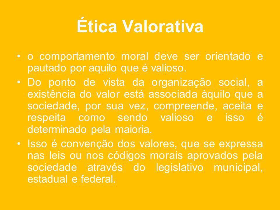 Ética Valorativa o comportamento moral deve ser orientado e pautado por aquilo que é valioso.