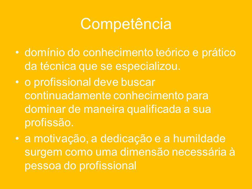 Competência domínio do conhecimento teórico e prático da técnica que se especializou.