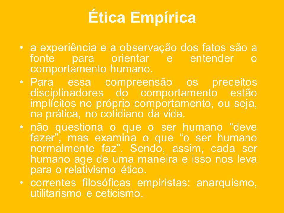 Ética Empírica a experiência e a observação dos fatos são a fonte para orientar e entender o comportamento humano.