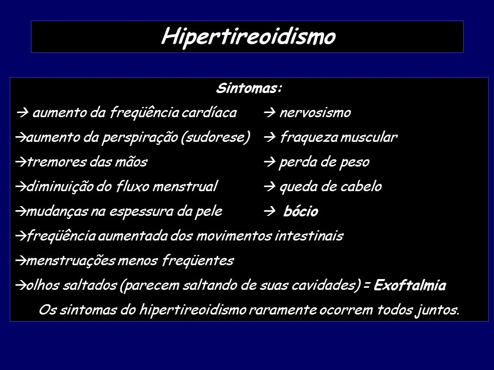 Os sintomas do hipertireoidismo raramente ocorrem todos juntos.