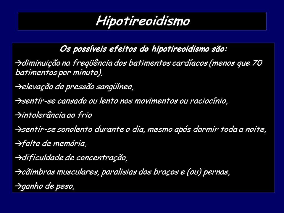 Os possíveis efeitos do hipotireoidismo são:
