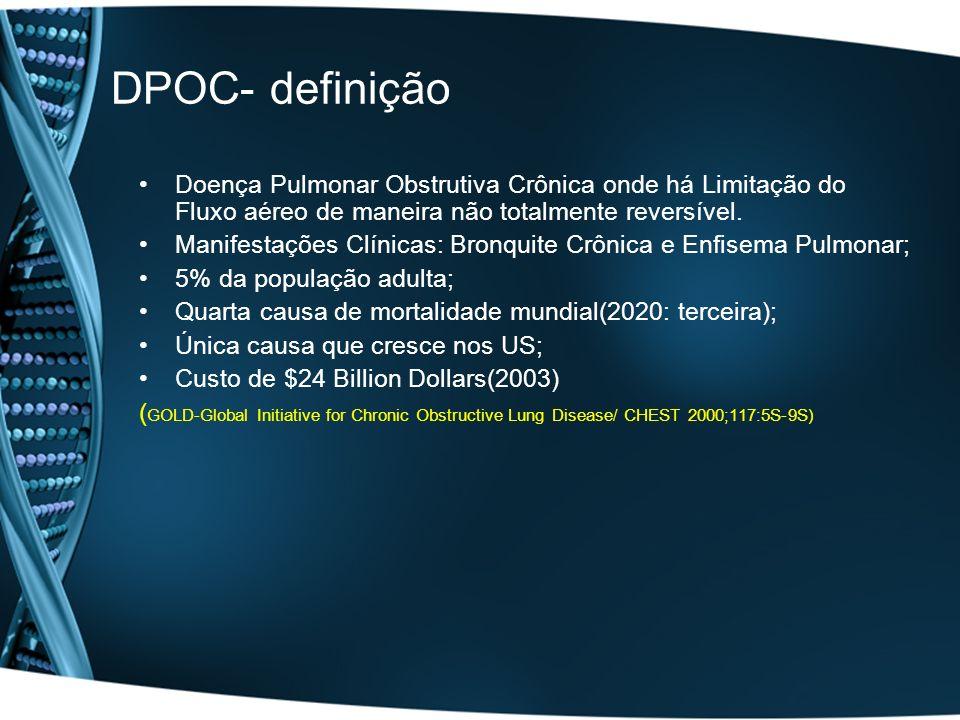 DPOC- definição Doença Pulmonar Obstrutiva Crônica onde há Limitação do Fluxo aéreo de maneira não totalmente reversível.