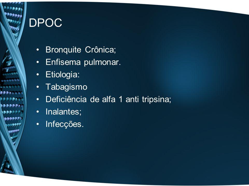 DPOC Bronquite Crônica; Enfisema pulmonar. Etiologia: Tabagismo