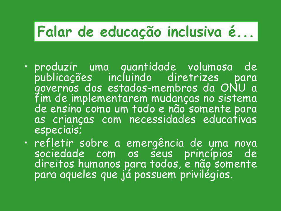 Falar de educação inclusiva é...