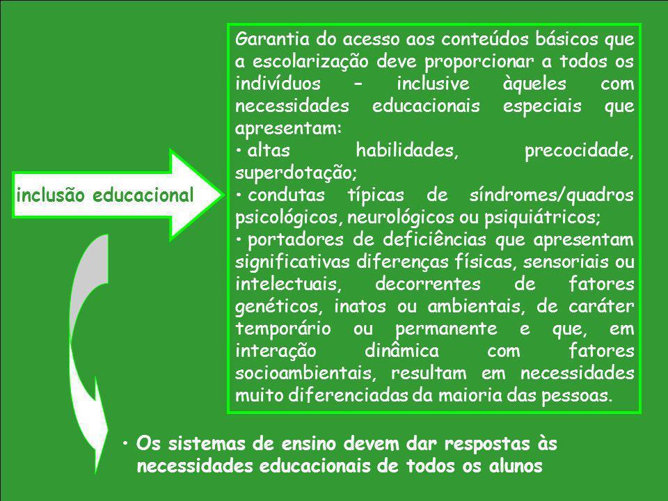 Garantia do acesso aos conteúdos básicos que a escolarização deve proporcionar a todos os indivíduos – inclusive àqueles com necessidades educacionais especiais que apresentam: