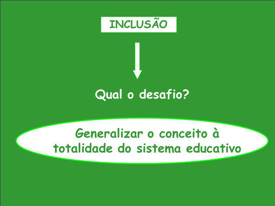 Generalizar o conceito à totalidade do sistema educativo
