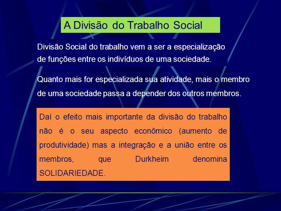 A Divisão do Trabalho Social