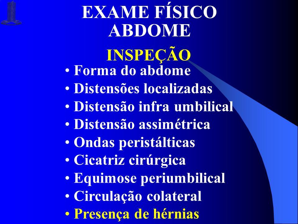 EXAME FÍSICO ABDOME INSPEÇÃO Forma do abdome Distensões localizadas