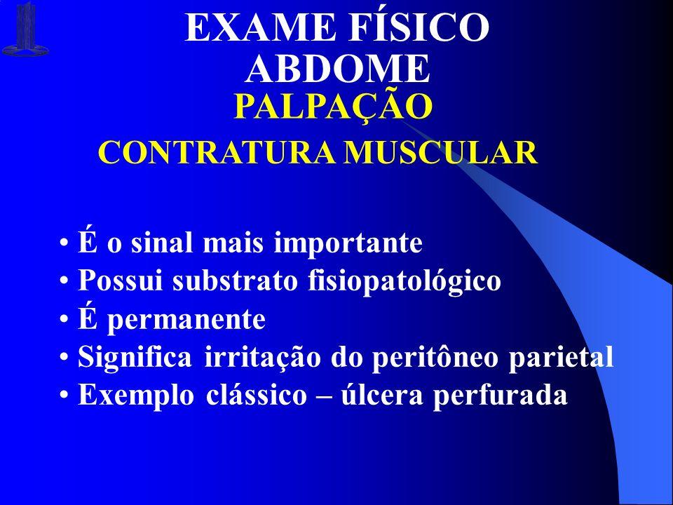 EXAME FÍSICO ABDOME PALPAÇÃO CONTRATURA MUSCULAR