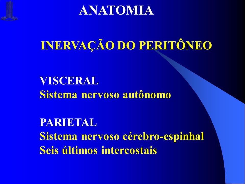 ANATOMIA INERVAÇÃO DO PERITÔNEO VISCERAL Sistema nervoso autônomo