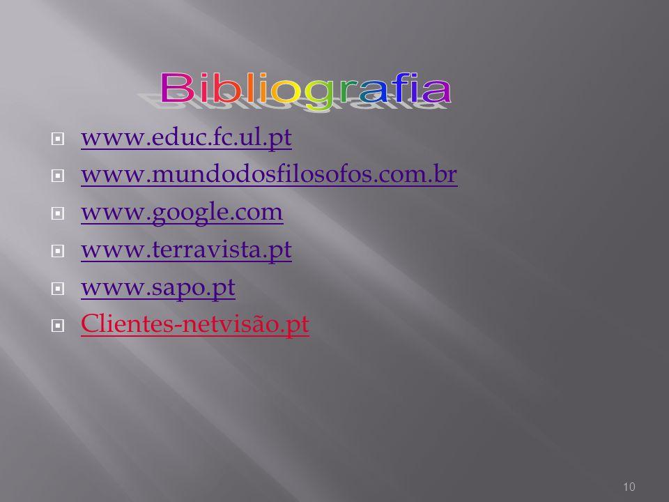 Bibliografia www.educ.fc.ul.pt www.mundodosfilosofos.com.br