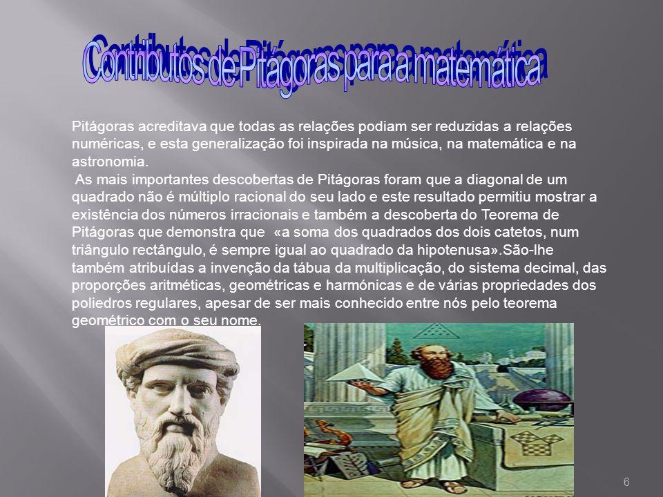 Contributos de Pitágoras para a matemática