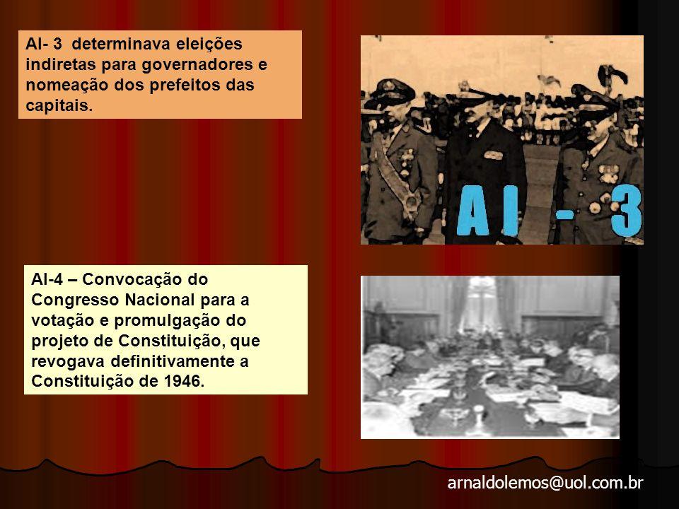 AI- 3 determinava eleições indiretas para governadores e nomeação dos prefeitos das capitais.