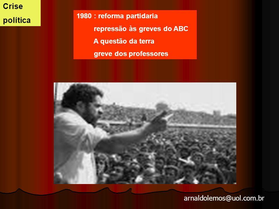 Crise política 1980 : reforma partidaria repressão às greves do ABC