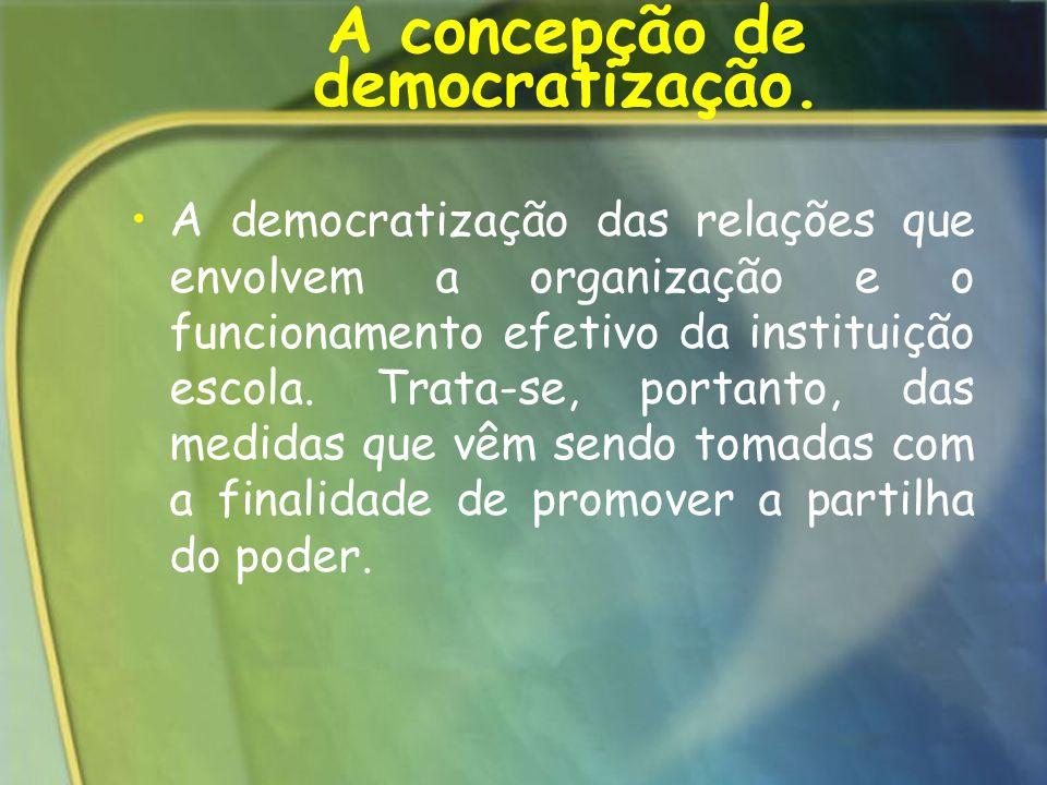 A concepção de democratização.