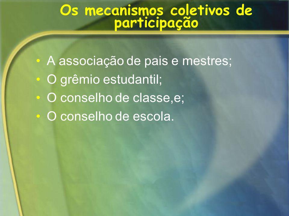 Os mecanismos coletivos de participação