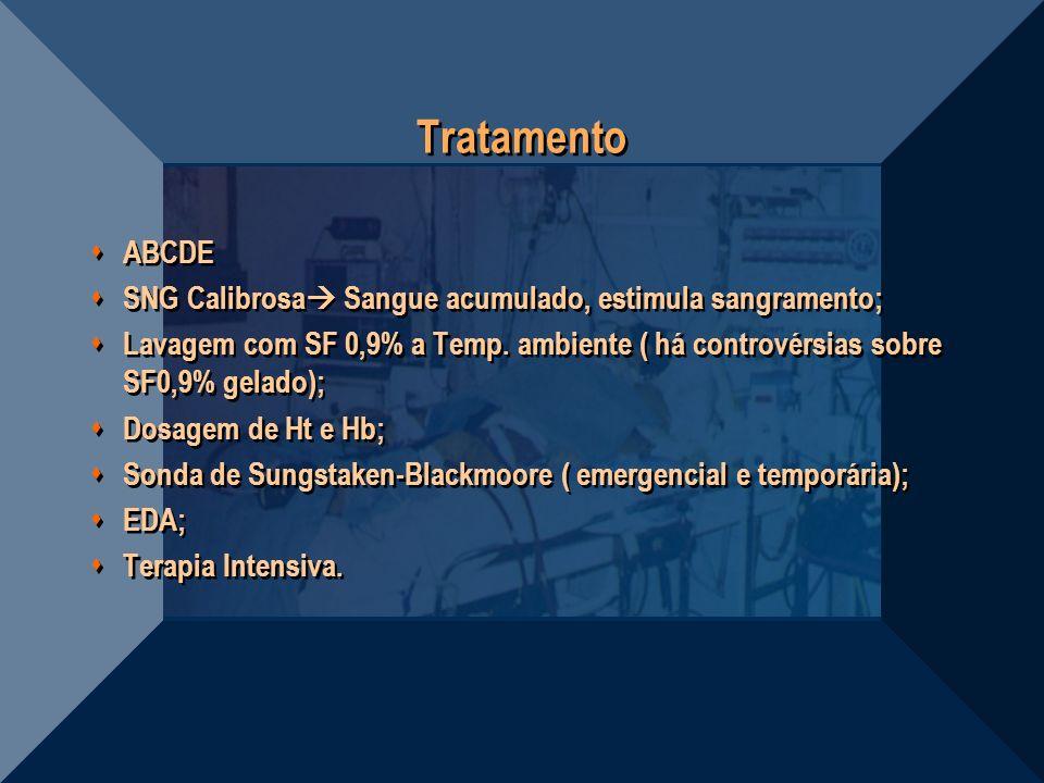 Tratamento ABCDE. SNG Calibrosa Sangue acumulado, estimula sangramento;