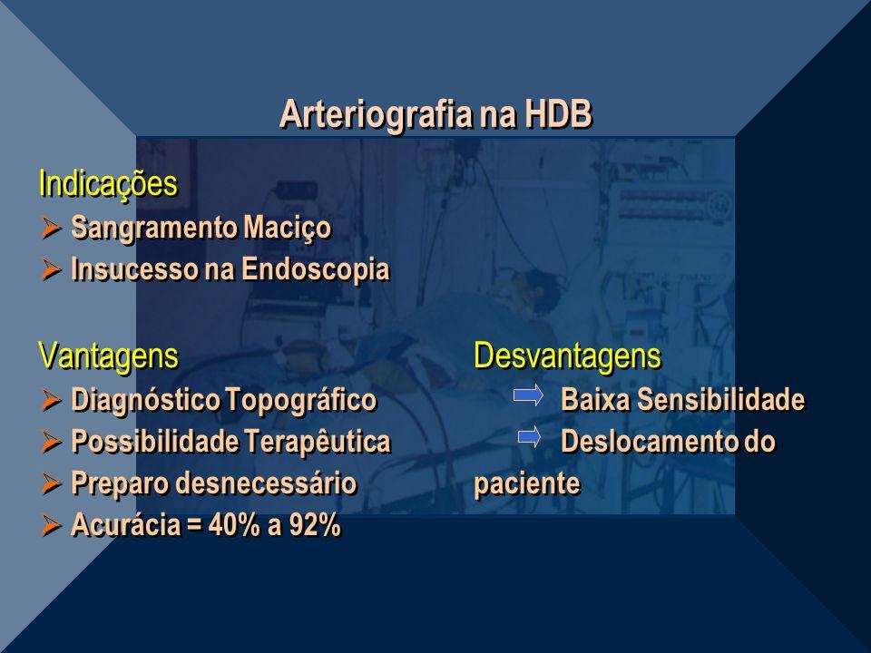 Arteriografia na HDB Indicações Vantagens Desvantagens