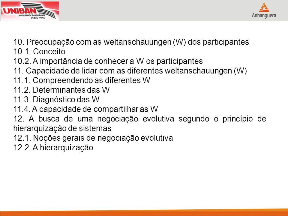10. Preocupação com as weltanschauungen (W) dos participantes