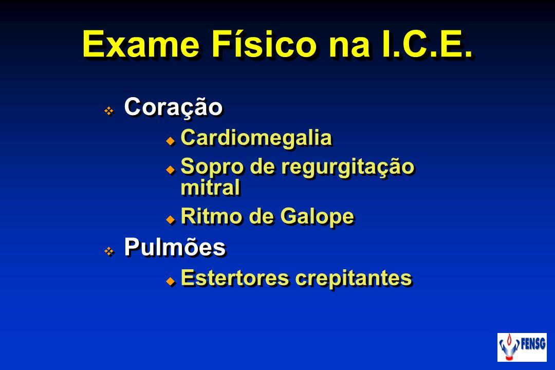 Exame Físico na I.C.E. Coração Pulmões Cardiomegalia